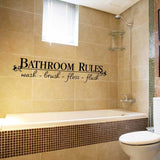 Bathroom Rules - Wash Brush Floss Flush Wall Decal Sticker