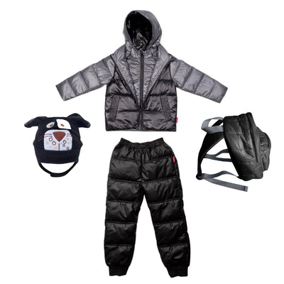 Car Seat Safety Road Coat®Down Jacket - Platinum/Black