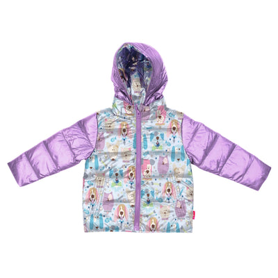 Car Seat Safety Road Coat®Down Jacket - Lilac/Puppy Print