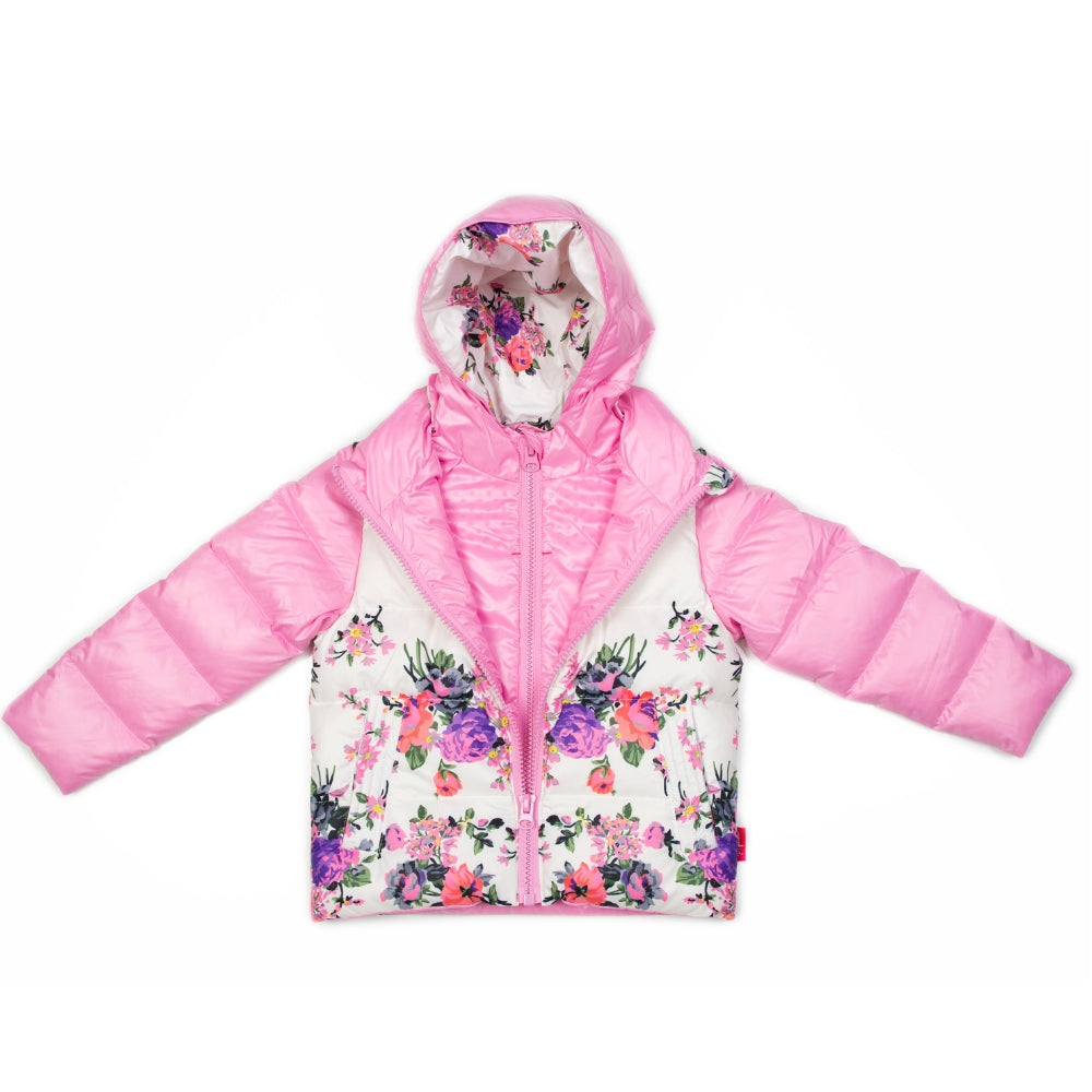 27b5a597e Car Seat Safety Road Coat®Down Jacket - Pink Floral - Onekid