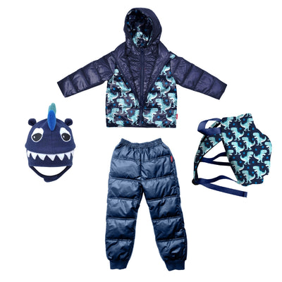 Car Seat Safety  Road Coat®Down Jacket - Navy - Raptor Print