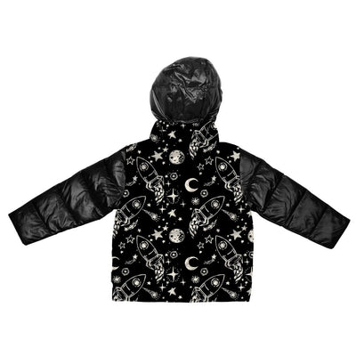 Car Seat Safety Road Coat®Down Jacket - Rocketship Print