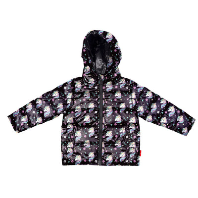Car Seat Safety Road Coat®Down Jacket - Black / Unicorn Print