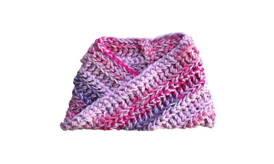 Hand Crochet Infinity Scarf Pink