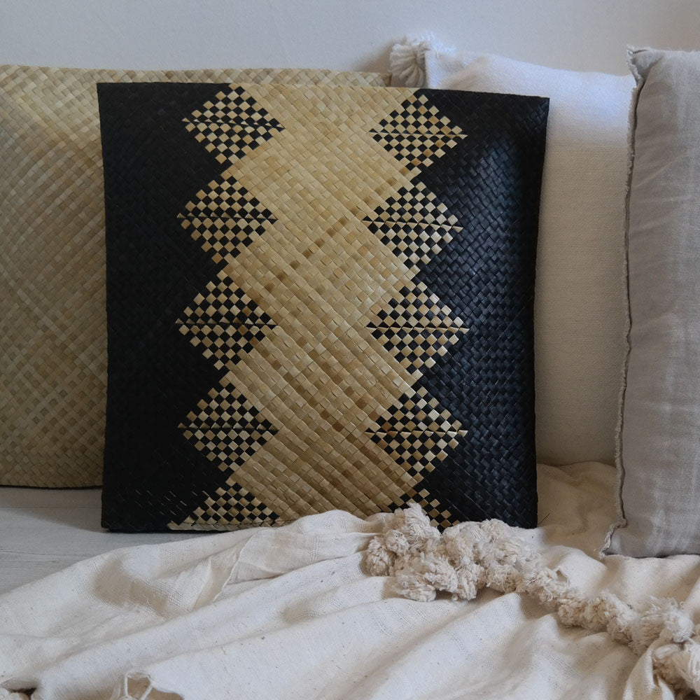 Handwoven Reed Material Cushion Cover - Patterned