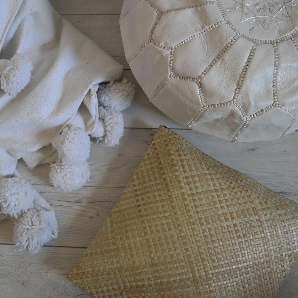 Handwoven Reed Material Cushion Cover - Natural