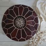 Moroccan Leather Pouf - Dark Brown