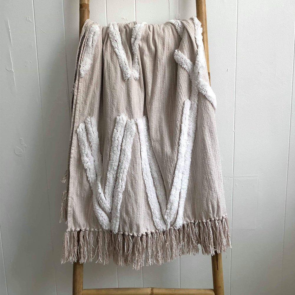 Beige and White Indian Throw