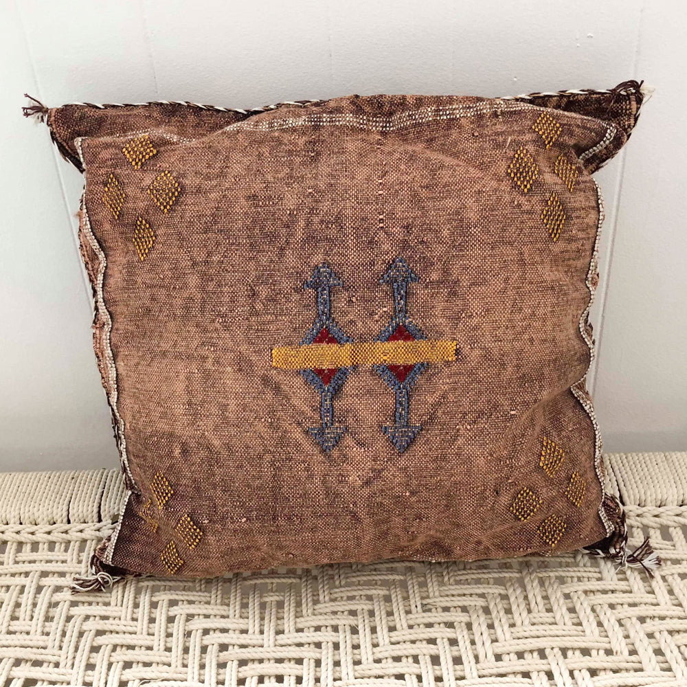 Moroccan Cactus Silk Cushion (Brown)