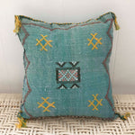 Moroccan Cactus Silk Cushion (Green)