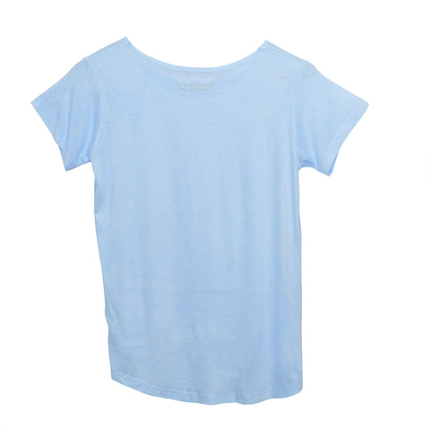 So Nikki, blue basic tee, high low tee, blue viscose tee