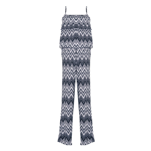 Navy Ruffle Jumpsuit | Cheryl Creations (USA) - SIZE M ONLY