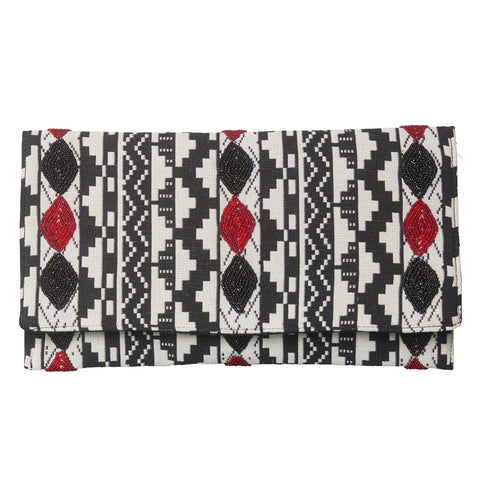Tribal Clutch with Black & Red Beading | Haute Hits (New York)