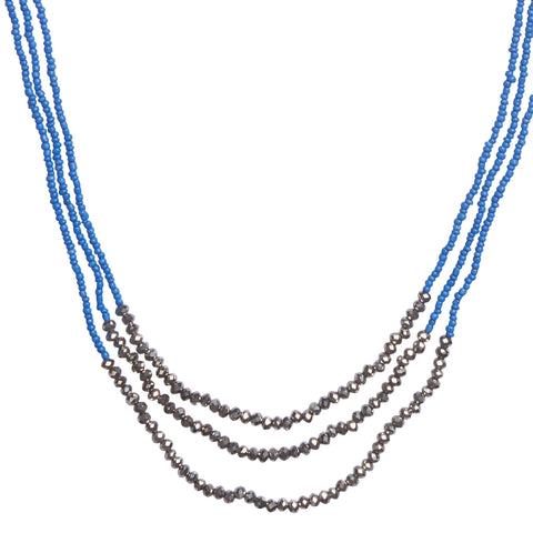 Dustin Beaded Necklace - BLUE | BOAM (France)