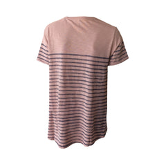 A great colour combo of pink blush and blue stripes combine beautifully in this soft cotton tee.  A touch of glitter adds a bit of glam and lets you wear this day or night. The pocket adds some street cred and interesting detail.