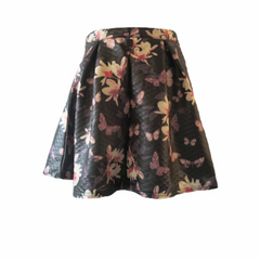 Pleated Floral Skirt, Vintage Floral Skirt, Indian Blue, Teen Fashion