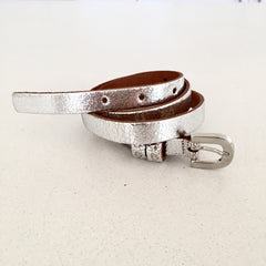 Kidzzbelts, Dutch brand, Silver metallic belt, Teen girl accessories