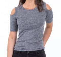 We love this grey vintage wash, ribbed Marlon Blouse by GRUNT.  The cold-shoulder style is on-trend this Spring/Summer.  Looks great when paired with white-denim.
