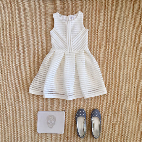 She.ver, Italian brand, white dress with gathered waist, white skater dress