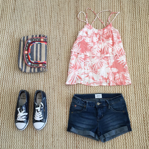 Kiddo, palm print top, pink swing top, teen fashion