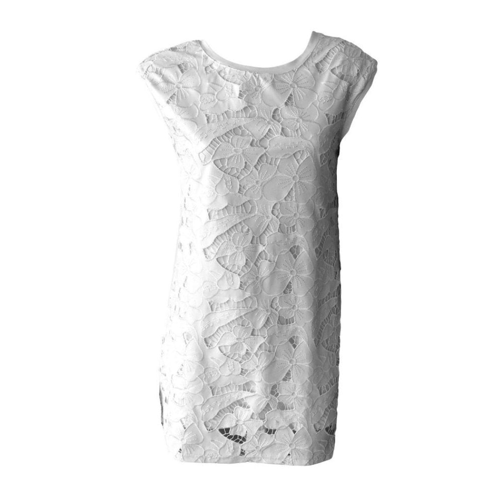 White Lace Straight Fit Dress | Fun + Fun (Italy) - SIZE 12 / 40 ONLY