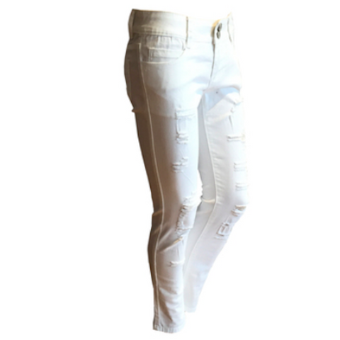 Distressed White Jeans | Fun + Fun (Italy)