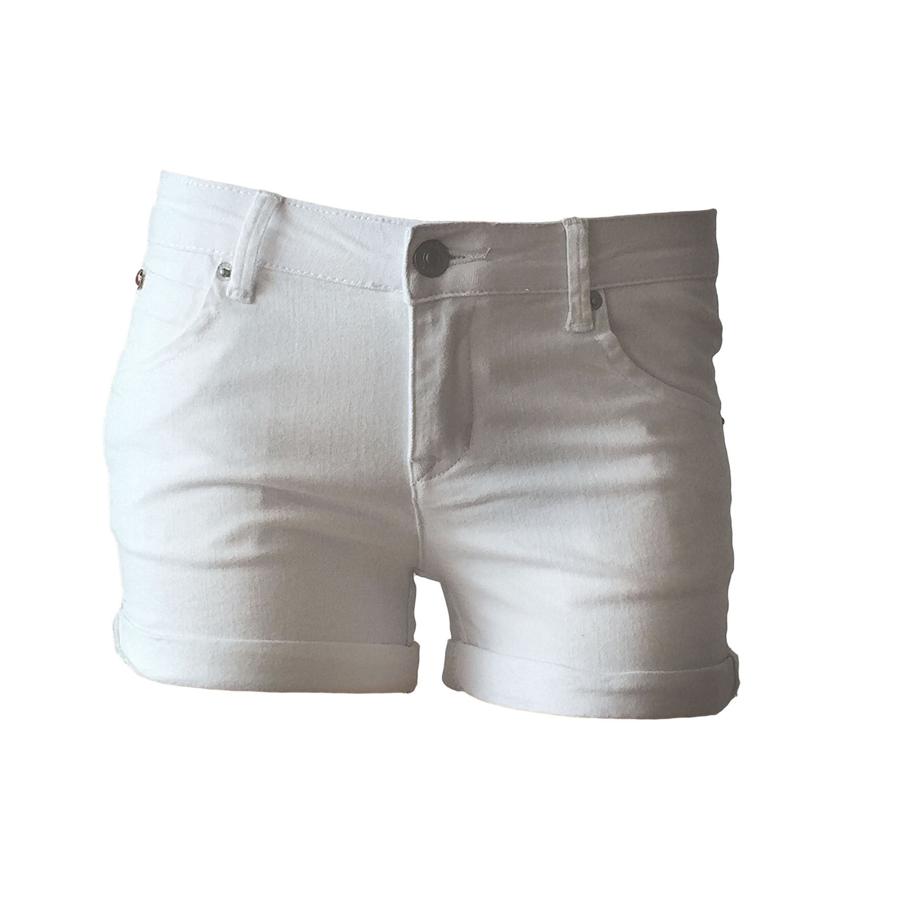 Snow denim cuffed shorts, white denim shorts, hudson denim shorts