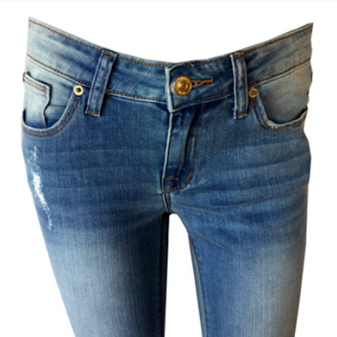 Ginny Blasted Blue Cropped Flap Jean | Hudson (USA)