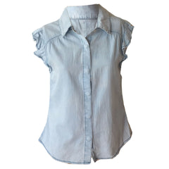 Blueberry ruffle shirt, ruffle chambray top, denim ruffle top, hudson denim