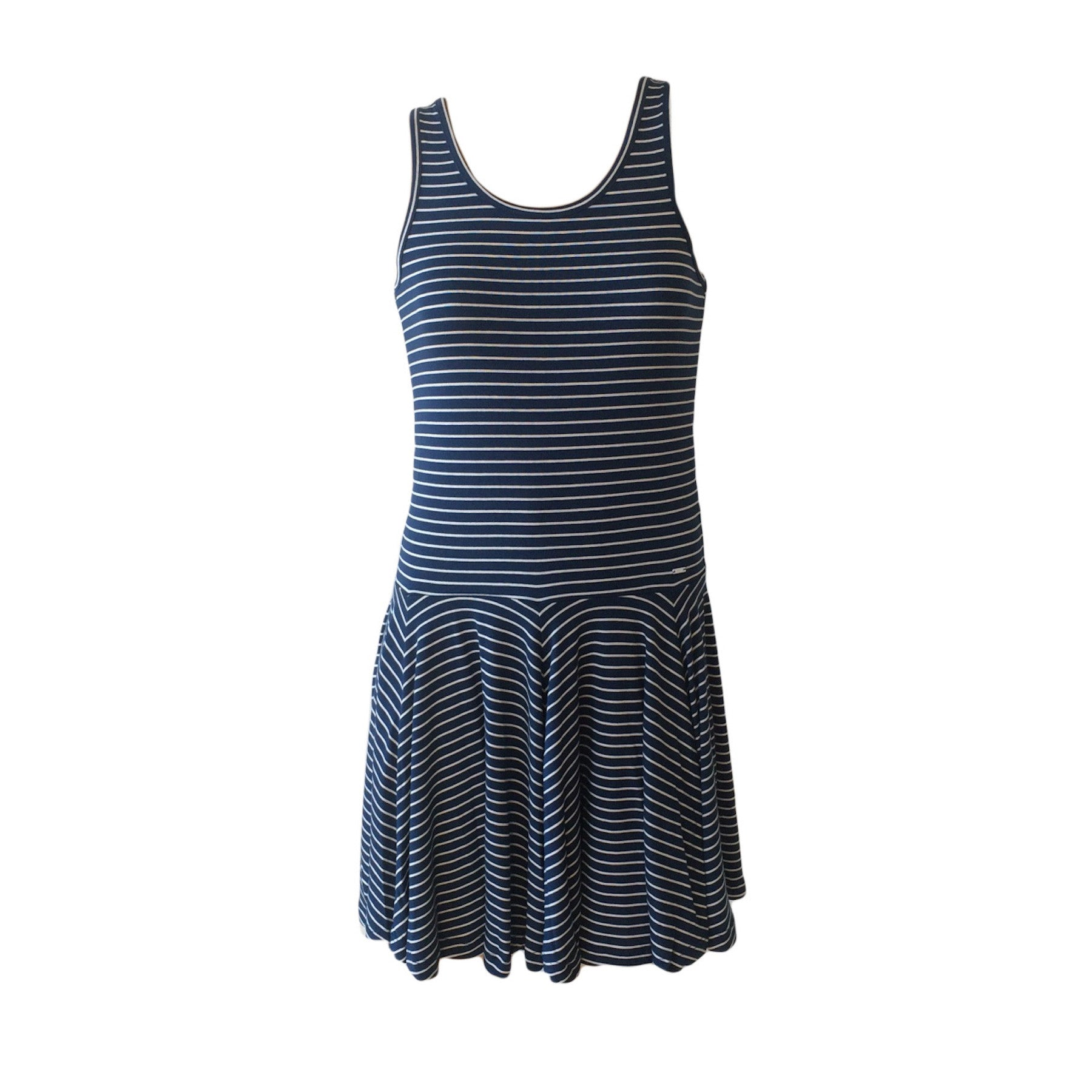 The Kathy Skater Dress by Belgium label SevenOneSeven features an all-over navy and white horizontal stripe pattern with traditional skater skirt feature. Soft cotton and good stretch make it a perfect Summer staple.