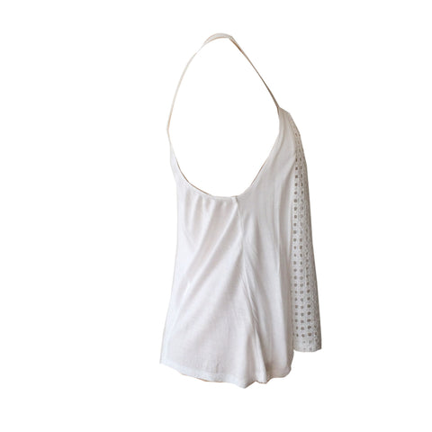 Alessandra White Eyelet Tank, White Swing top, embroidered white top, oh soleil, teen fashion