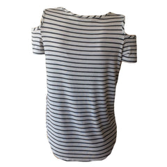 White with Grey Stripe Cold Shoulder Tee | Pinc Premium (New York) - SIZE L ONLY