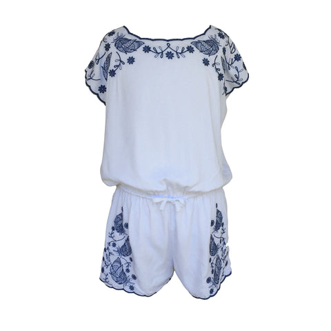 Embroidered Playsuit | TAHLIA, (AUS) - SIZE 10 ONLY