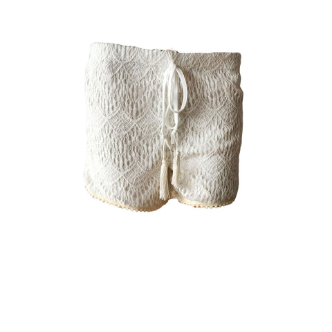 little gypsy crochet short in ivory, white crochet shorts, love and sunflowers boho white shorts
