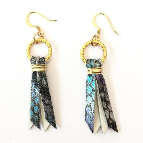 Silver/Blue Snake Skin Earrings | Delta June (Louisiana, USA)