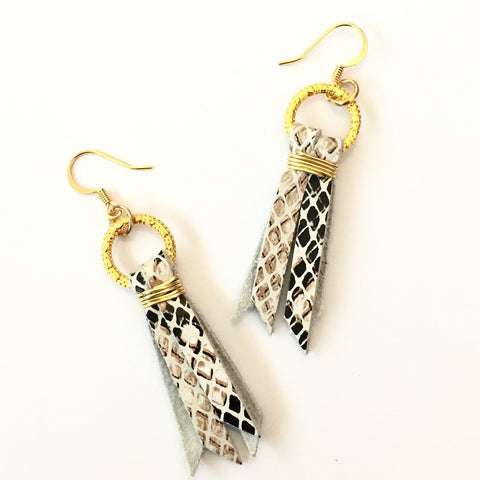 Black/Brown Snake Skin Earrings | Delta June (Louisiana,USA)