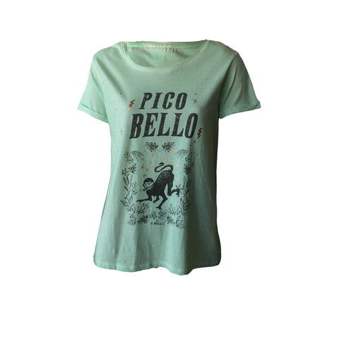 The Pico Bello Tee in pale mint by Scotch R'Belle is a great tee for some fun. Easy to wear, cool detail and a great cut make this a perfect tee for Spring Summer 17.
