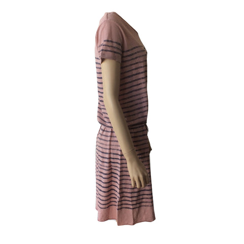 This striped pink glitter jersey dress by Dutch label Scotch R'belle is a the perfect summer dress.  Made of cotton with a cute belted waist and touch of glitter.