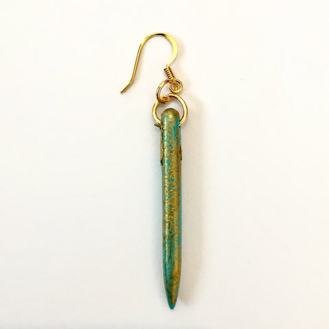 Gold/Turquoise Drop Earrings | Delta June (Louisiana,USA)