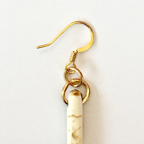 White/Gold Drop Earrings | Delta June (Louisiana, USA)
