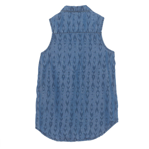 Pinc Premium, US brand, sleeveless chambray denim shirt, top for teens, teen top, sleeveless top