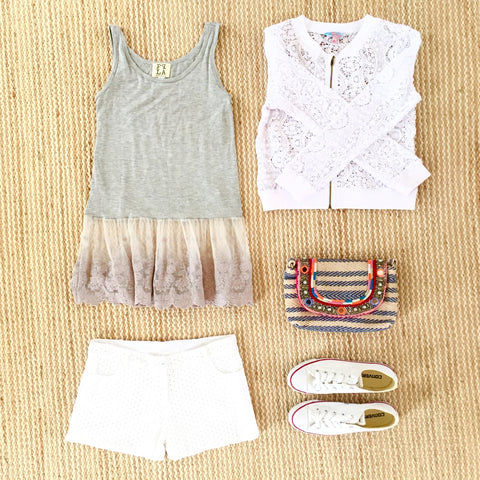 PPLA, US brand, LA fashion, grey willow tank, lace tunic