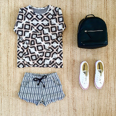 Petitbo, european fashion, aztec print shorts