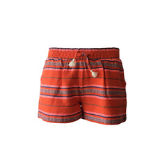 Loose fit, vibrant red striped beach shorts by Scotch R'belle. The beautifully designed cotton shorts + any basic black or white tee = amazing summer look! Can match any summer footwear.
