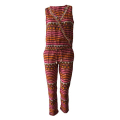 Perfect for any boho chic! Crafted in breezy cotton, this Red & Fuchsia Boho sleeveless jumpsuit is printed and detailed with tasseled tape trims. So vibrant, this piece screams summer fun!!
