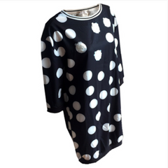 Spotty Dress in Black & White, Spotty long sleeve dress, retro spots dress, fun & fun