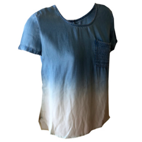 Chambray Faded Top | Tractr (USA) - SIZE L (12) ONLY