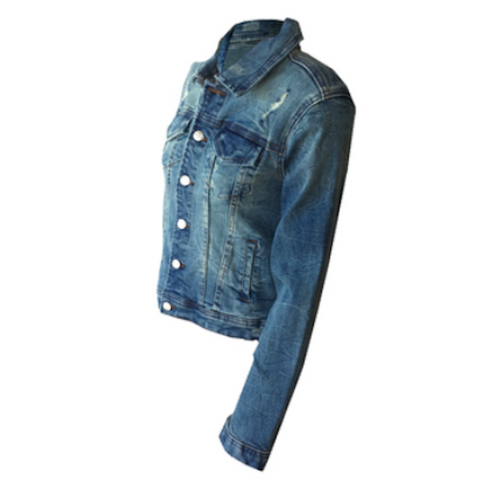 Distressed Indigo Denim Jacket | Tractr (USA)