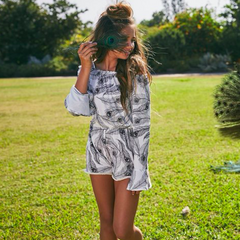 Love & Sunflowers from Venice Beach are renowned for their gorgeous teen playsuits. The black & white peacock print screams summer, the soft fabric will keep you cool & relaxed.