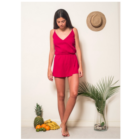 The Vivid Burgundy Playsuit by Oh Soleil is a gorgeous teen playsuit with stunning design & colour. The deep red colour and beautiful cut make this a great Summer romper.